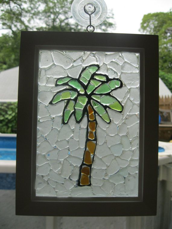 Palm Tree Sea Glass Mosaic by bmcseaglasscreations on Etsy
