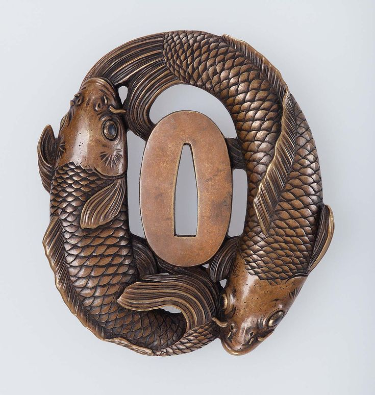 Tsuba with design of two carp. Edo period–Meiji era mid to late 19th century (before 1890) Ômori Teruhide (Japanese, 1730–1798)