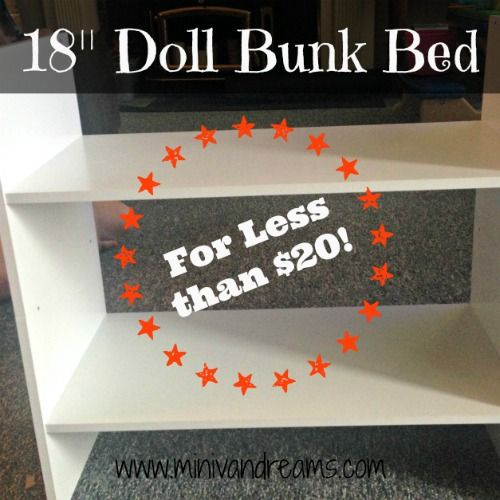 "A quick and easy repurpose to make 18"" Doll Bunk Beds (or two single beds) for less than $20! All you need is a screw driver and less than an hour! Really."