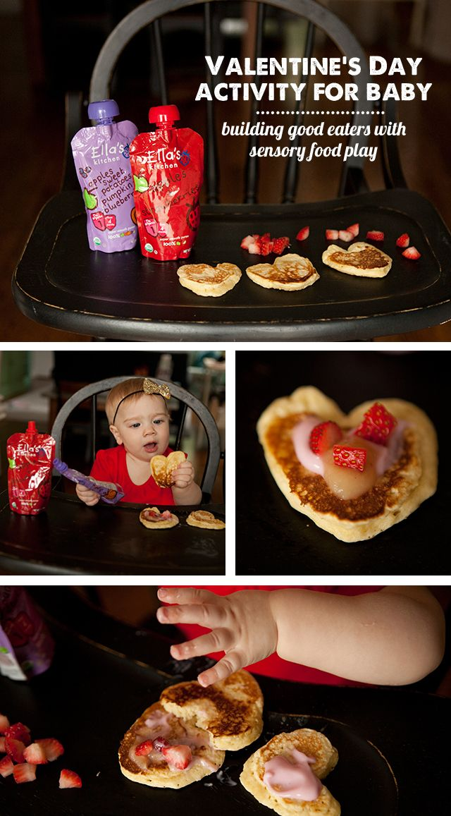 A fun Valentine's Day activity for baby - letting them decorate their own pancakes with healthy ingredients. (Getting kids to explore food young helps make adventurous eaters!)    Plus an easy pancake recipe kids love.   #sponsored