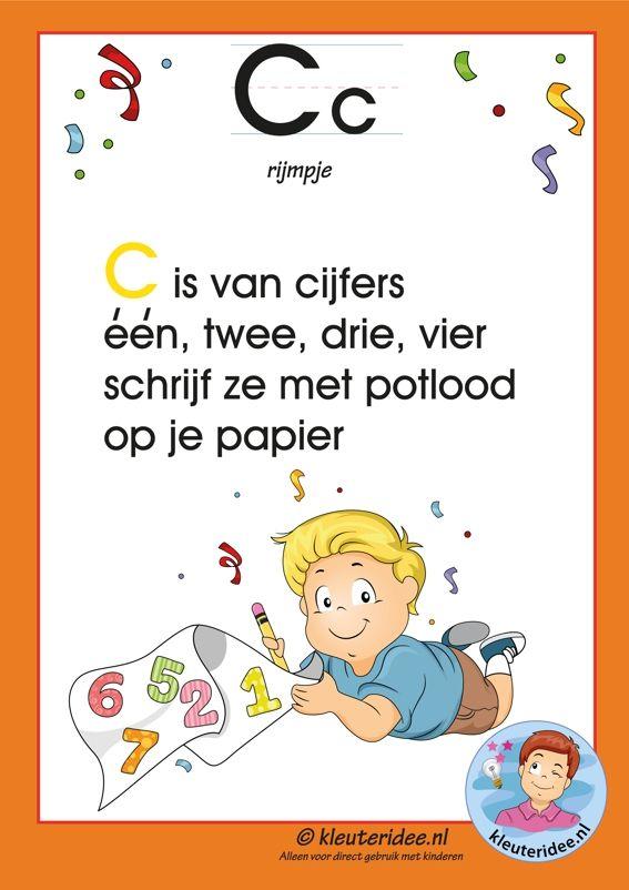 Pakket over de letter c blad 3, rijmpje, letters aanbieden aan kleuters, kleuteridee.nl, free printable.