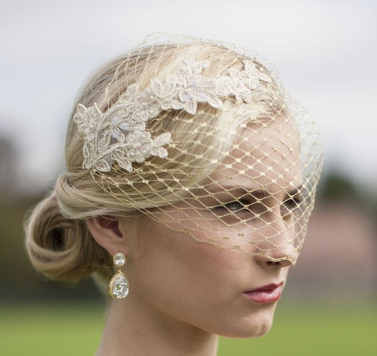 Metallic Gold French Netting Bandeau Bridal Veil