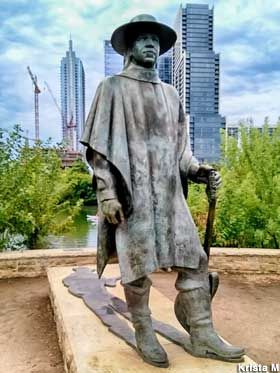 Statue of Stevie Ray Vaughan.