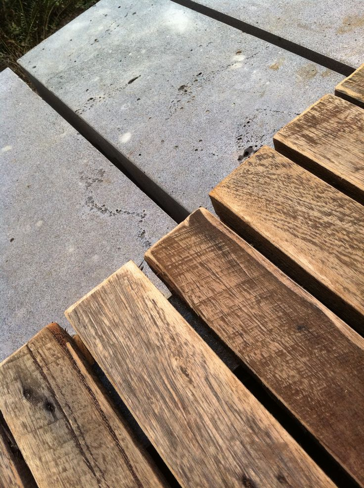 Timber salvaged from demolition and sawn bluestone, Collingwood