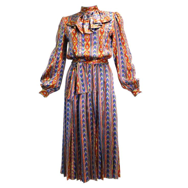 """1980s Givenchy Nouvelle """"Aztec"""" Silk Dress 