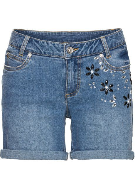 Bonprix Short BODYFLIRT, lightblue bleached print korte broek jeans spijkerstof denim