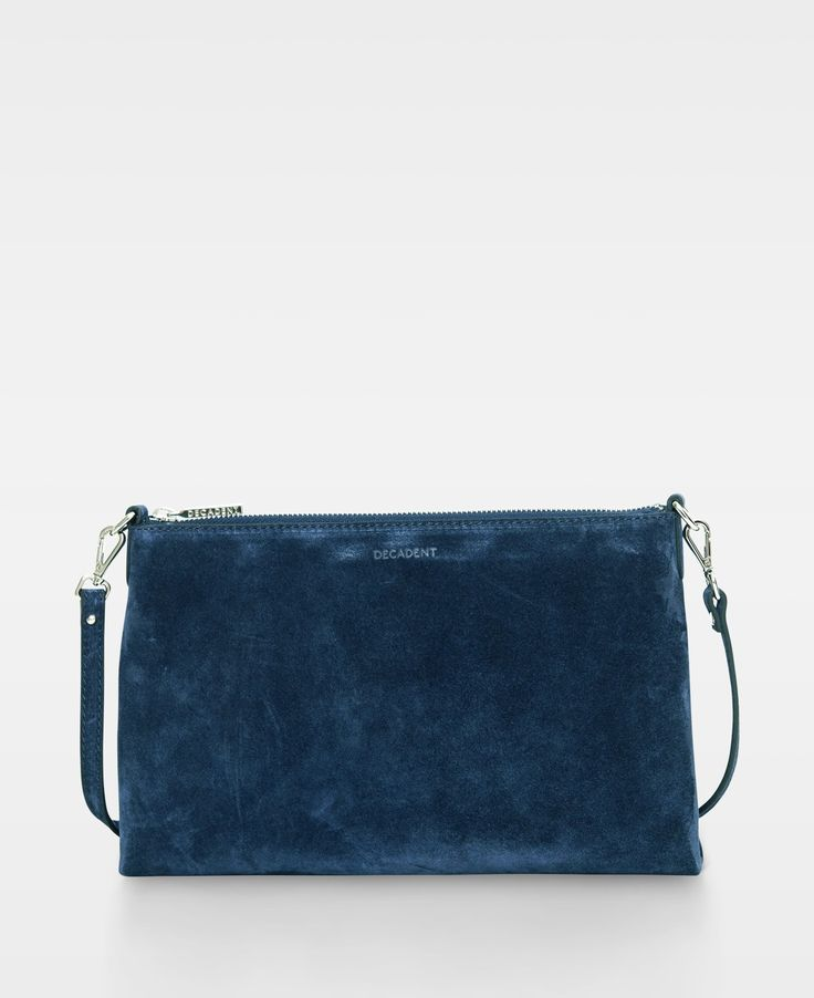 Decadent Small flat cross body - Suede navy