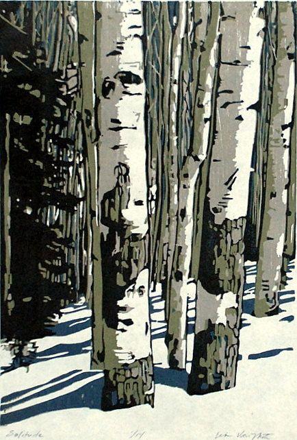 Solitude original woodblock print by LisaVanMeter on Etsy