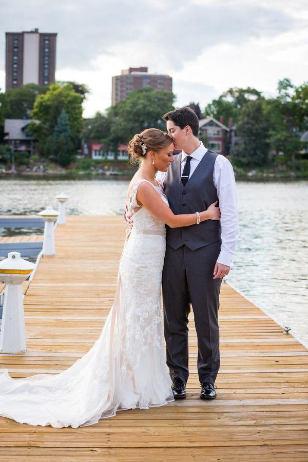 Blush and Gray Rockford Waterfront Lesbian Wedding