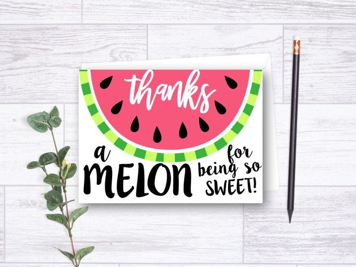 Watermelon Thank You Card One In Melon Birthday Thank You Card