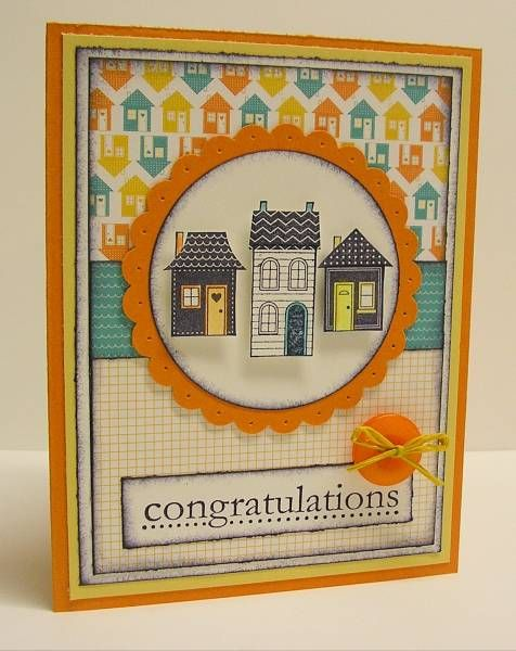 Stamps: Good Neighbors, Congrats  Paper: Pumpkin Pie, So Saffron, White, Welcome Neighbor DP  Ink: Basic Black  Accessories: Sponging, Scalloped Circle Punch, Large Circle Punch, Piercing Tool, Dimensionals, Sherbert Button, Raffia, Chalks