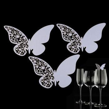 Perlemorsfarvet sommerfugle bordkort til glas til din fest fra sjovogkreativ.dk
