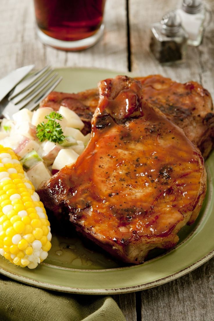 Marinated Baked Pork Chops Recipe with soy sauce, Worcestershire sauce, lemon juice, brown sugar, and ketchup.
