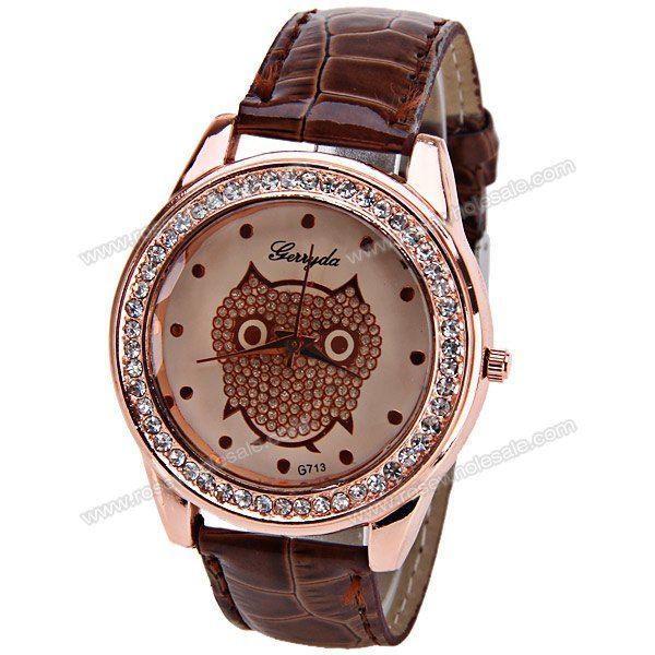 Wholesale Gerryda Quartz Watch with Dots Indicate Leather Watch Band for Women - Dark Brown (DARK BROWN), Women's Watches - Rosewholesale.com