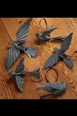 Set of 5 Assorted Metal Birds in Zinc Finish with Ribbon.