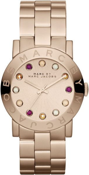 Marc By Marc Jacobs Amy Matte Rose Golden Watch with Crystals in Pink