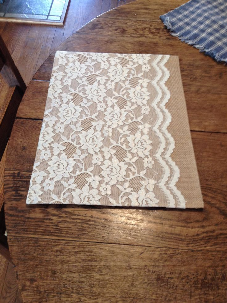 Burlap placemat with glued lace from Walmart.