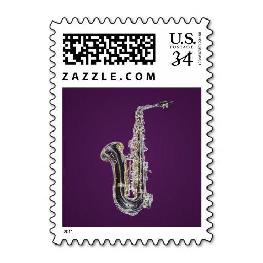 Saxophone cartoon postage