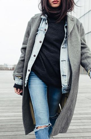 layering denim jacket underneath coat