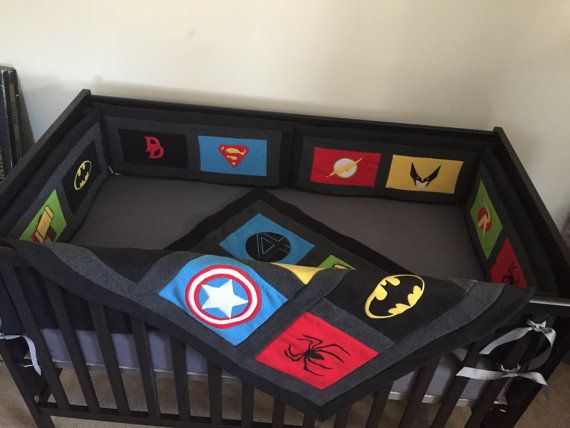 Marvel Avengers Crib Set, DC Comics Blankets, Superhero nursery with personalization, DC Comics, Avengers, Marvel, Vintage comics