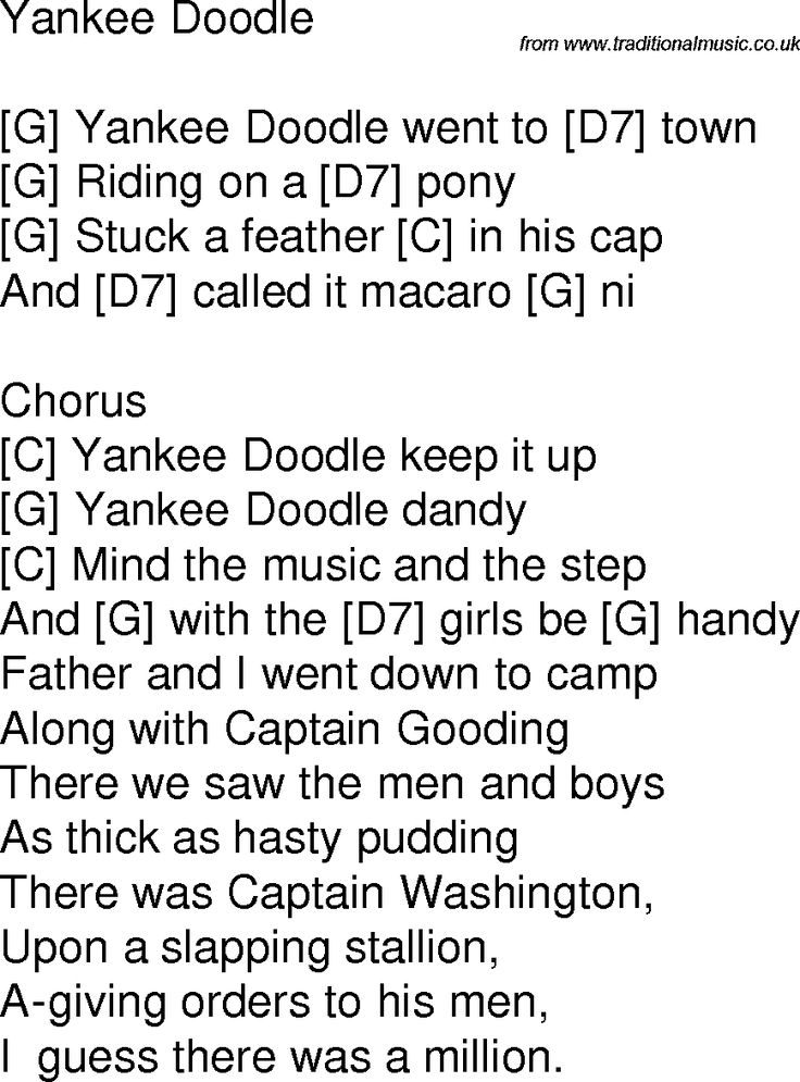 Snap Old Time Song Lyrics With Chords For Yankee Doodle G Music