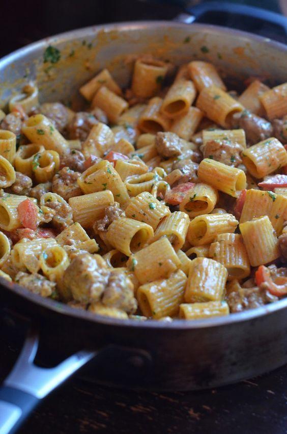 Rigatoni with Chorizo and Spicy Chipotle Cream Sauce | Always Order Dessert