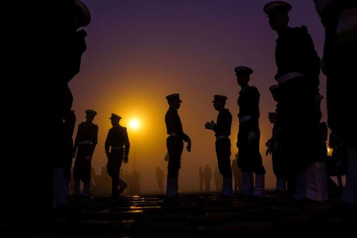 Wednesday, January 4: New Delhi  -   Indian military personnel rehearse for the forthcoming Republic Day parade at Rajpath in New Delhi on Tuesday. India will celebrate its 68th Republic Day on Jan. 26 with a large military parade.