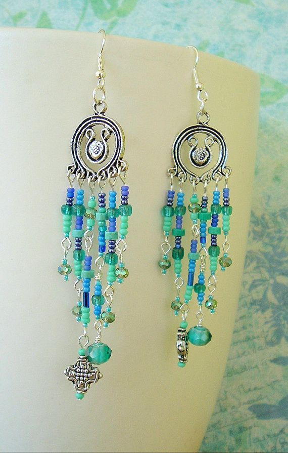 Long Chandelier Earrings Exotic Boho Earrings by BohoStyleMe