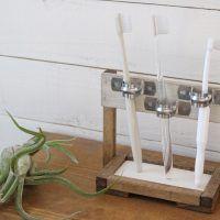 「エッグタイル」×100均木材で、歯ブラシスタンドをDIY!