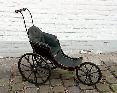 Original antiker alter Kinderwagen um 1870 Buggy 3 Räder Selten Puppenwagen