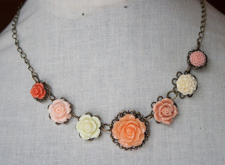 Handmade Flower Necklace Peach Rose Necklace Peach Flower Necklace Flower Bib Necklace Peach Bridesmaids Peach Wedding Jewelry by GnidGnadDesigns on Etsy https://www.etsy.com/listing/226298428/handmade-flower-necklace-peach-rose