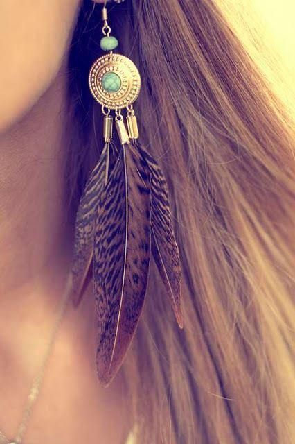 These feather earrings are cute with the turquoise. I like a slight Bohemian look as long as it's tasteful.