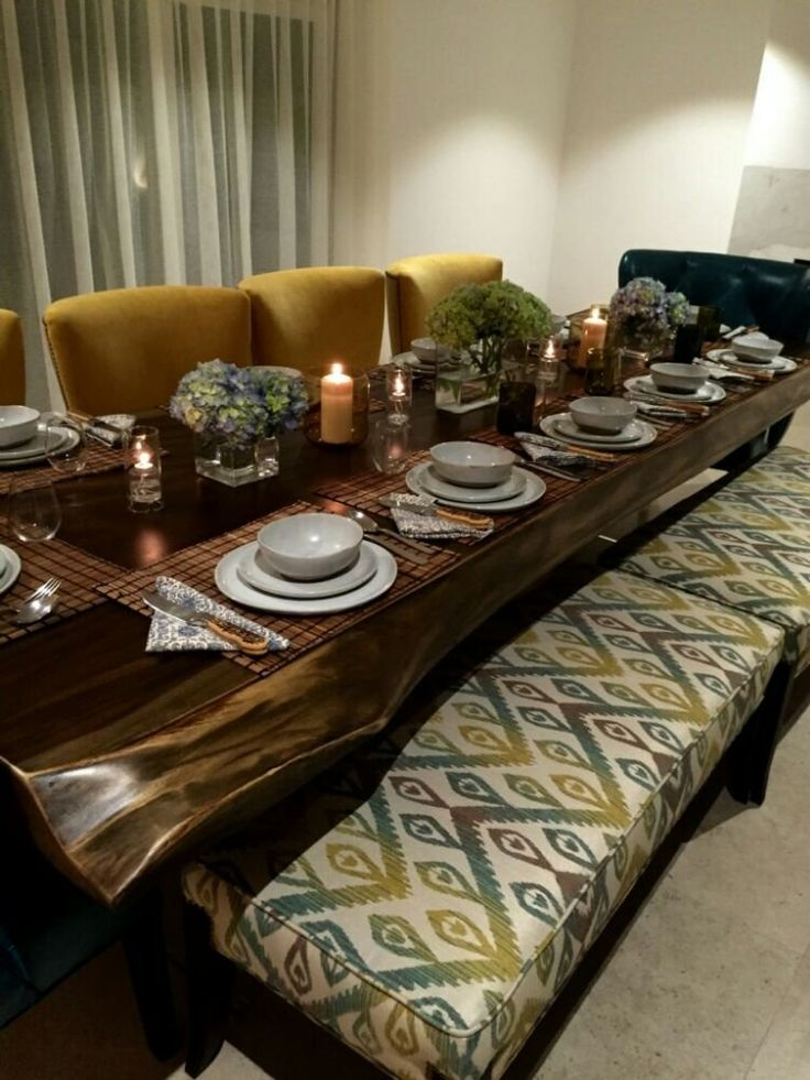 Solid Custom Made Mustard Yellow Modern Dining Room Chairs With Upholstered Benches In An Ikat Fabric