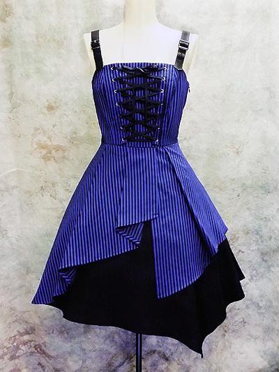 Shoulder Belt Striped Jumper / See more at http://www.cdjapan.co.jp/apparel/new_arrival.html?brand=MMM #gothic #lolita fashion