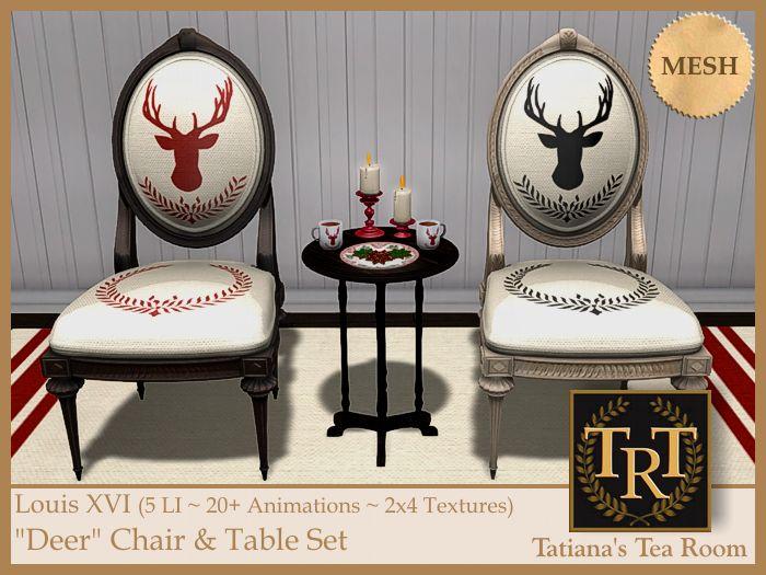 "Louis XVI ""Deer"" Chair & Table Set   #SecondLife"