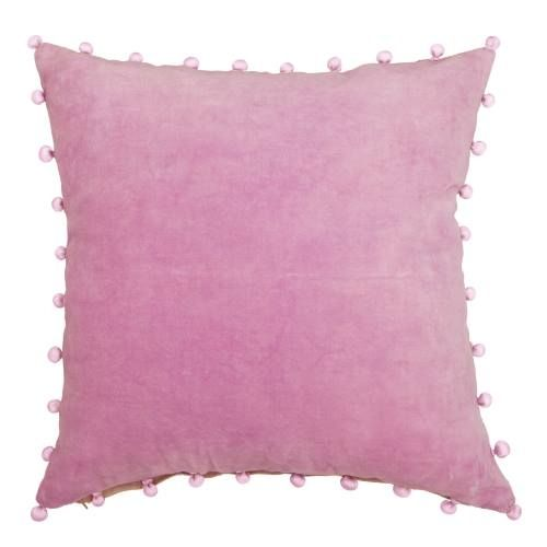 Velvet cushion with pom pom trim in pink