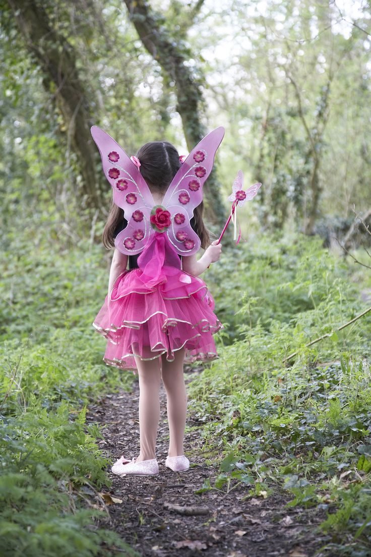 Sugar Plum Fairy Set ~  No fairy is complete without a beautiful set of wings...  This gorgeous cerise pink fairy dress up set includes a beautiful pair of wings with silver detailing and flowers, a matching butterfly shaped wand and a layered net skirt with green ribbon trim and petals captured in the top layer.  Age 3+ £26.00