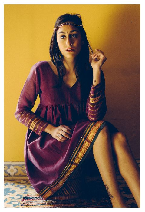 Purple, Gold and Green Empire Line Gathered Dress Crafted from a Traditional Indian Sari