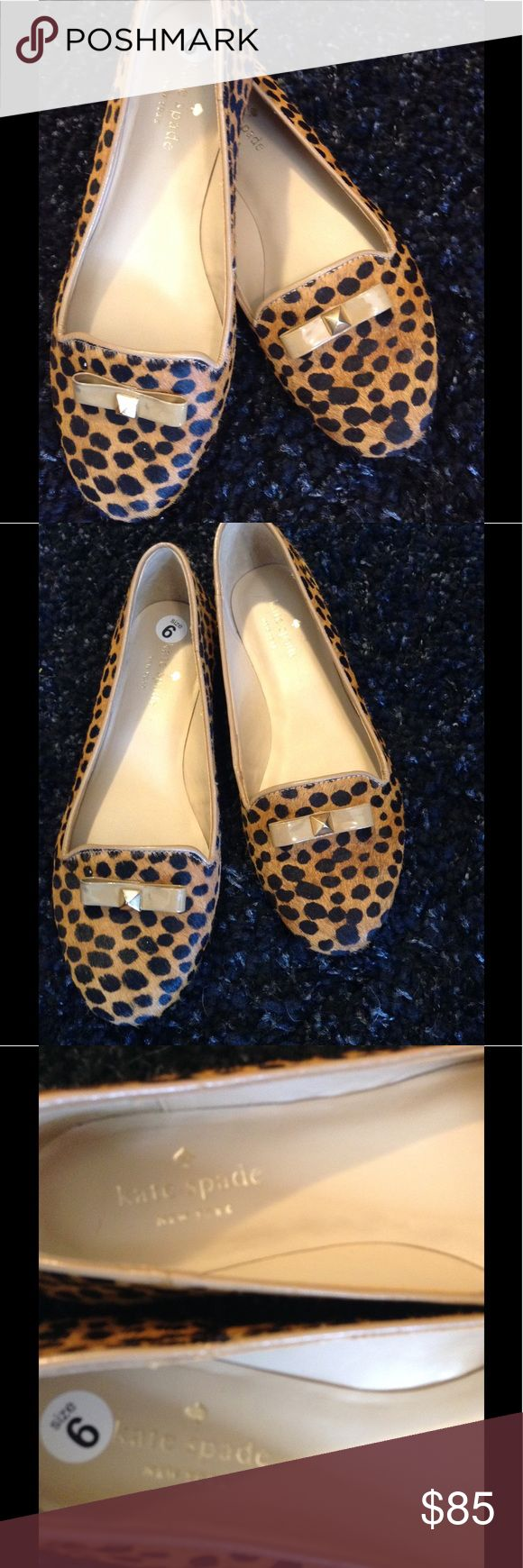 NWOB Kate Spade Animal Print flats Cheetah print flats with bow accent. Leather/calf hair, never worn just no box size 6 kate spade Shoes Flats & Loafers