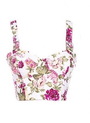 Floral bustier would look great as a blouse.