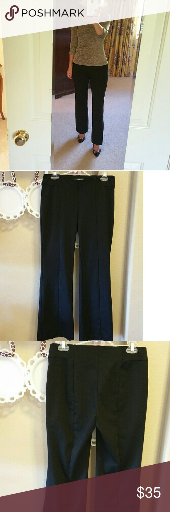 EUC INC Black Pull On Boot Cut Pants These EUC INC Black Pull On Boot Cut Pants have no closure for a smooth fit. They also have a front seam and a back seam for a really nice fit. The fabric is 60% rayon, 35% nylon, and 5% spandex. The rise is 22.5 in around and the length is 37 in from the waist to the bottom of legs. The waist is 15 in across and the waistband is 2 in wide. INC International Concepts Pants Boot Cut & Flare