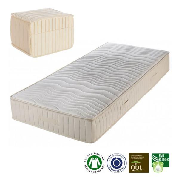 Saraies un colchón de látex naturalde 23 cm de grosorfabricado artesanalmente porProlana.El núcleo está compuesto por 15 cm de látex natural con 5 zonas diferenciadas, una muy cómoda a la altura de los hombros. El grado ...
