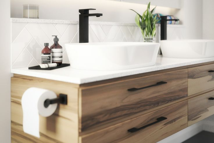 Meir Australia Matte Black Tapware. Get the look at www.meir.com.au/. #matteblack #blacktapware #MeirAustralia #bathroom #matte #black