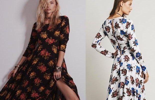 Sonbaharın Çiçek Desenli Bohem Elbise Modelleri 2015 / 16 | kadın ve trend