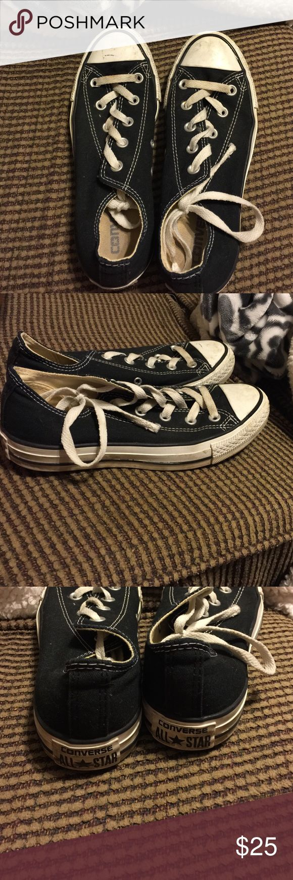 Black Converse All Star Very comfortable black chuck taylor converse. Low top shoe with white laces. Converse Shoes Sneakers