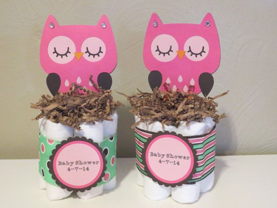 Owl Mini Diaper Cake Centerpieces for baby by YourPartyStartsHere, $10.00