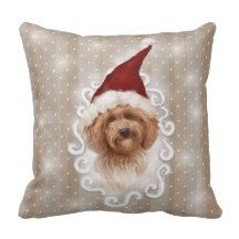Romantic Christmast Detailed Dog Painting Pillow