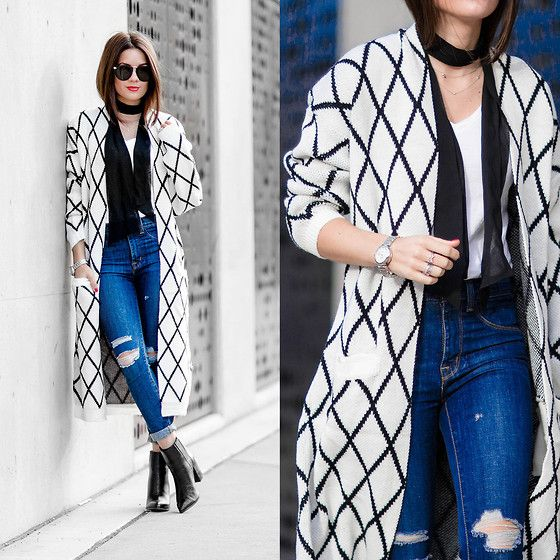 Get this look: http://lb.nu/look/7872146  More looks by Sarah: http://lb.nu/sarahstylesseattle  Items in this look:  Diamond Pattern Knit Long Cardigan   #casual #chic #street #cardigan #denim #fall #diamond #print #sweater