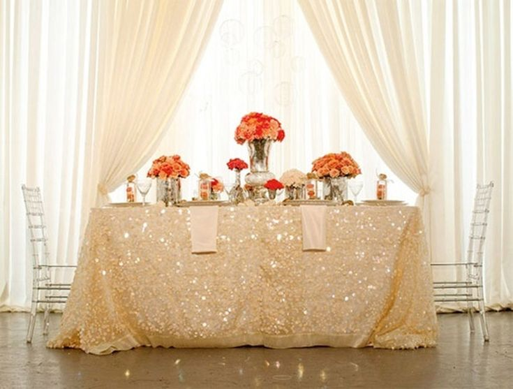 Ivory Sequin Tablecloths | Kellyu0027s Latest Obsession: Sequin Linens For  Parties | The Party Dress