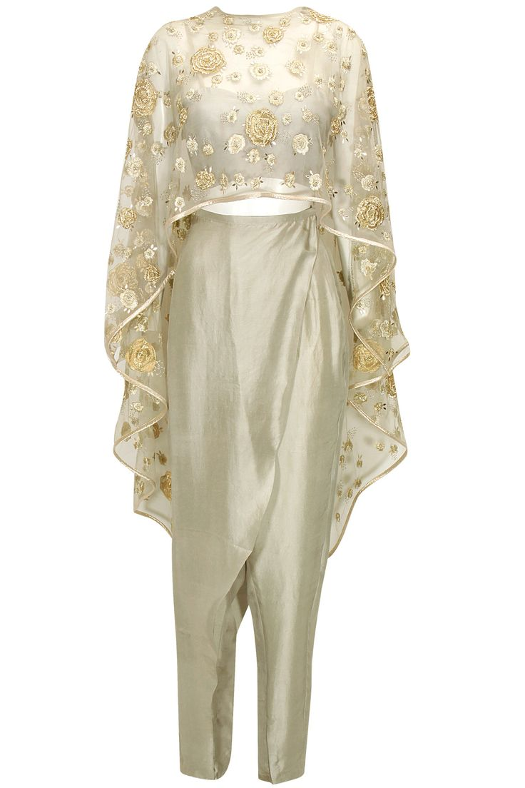 Pale grey rose embroidered cape with bustier and pants available only at Pernia's Pop-Up Shop.